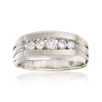 Men's .50 ct. t.w. Diamond Wedding Ring in 14kt White Gold, , default