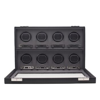 """""""Viceroy"""" Black Faux Leather Eight-Module Watch Winder by Wolf Designs"""