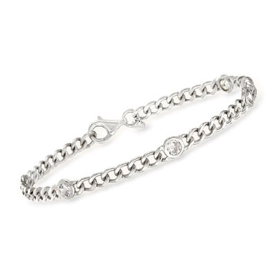 1.15 ct. t.w. CZ Station Curb-Link Bracelet in Sterling Silver, , default
