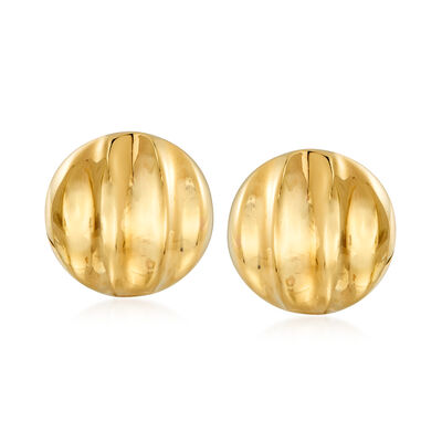 Italian 18kt Yellow Gold Multi-Row Dome Clip-On Earrings, , default