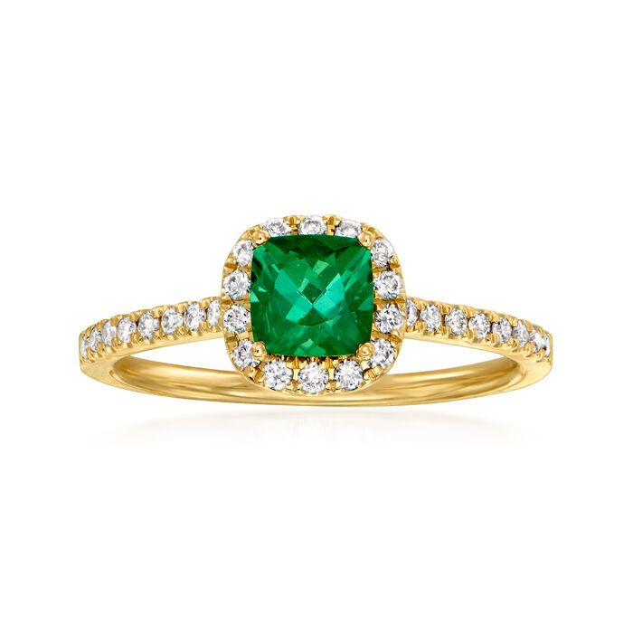 C. 1980 Vintage .67 Carat Green Tourmaline and .35 ct. t.w. Diamond Ring in 14kt Yellow Gold