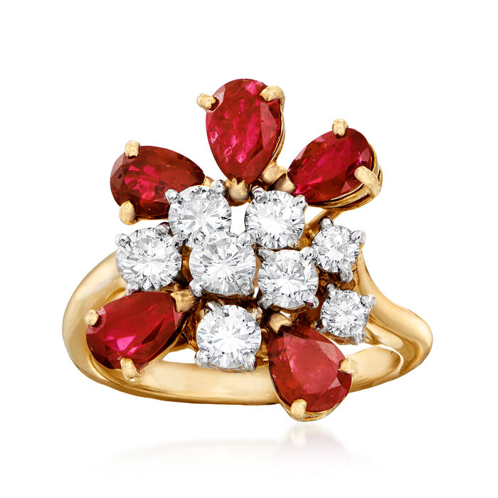 C. 1980 Vintage 2.75 ct. t.w. Ruby and 1.00 ct. t.w. Diamond Cluster Ring in 18kt Yellow Gold