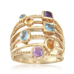 1.31 ct. t.w. Multi-Stone Ring in 14kt Gold Over Sterling, , default