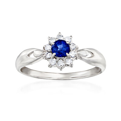 C. 1980 Vintage .37 Carat Sapphire and .16 ct. t.w. Diamond Flower Ring in Platinum