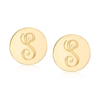 18kt Yellow Gold Circle Stud Earrings, , default