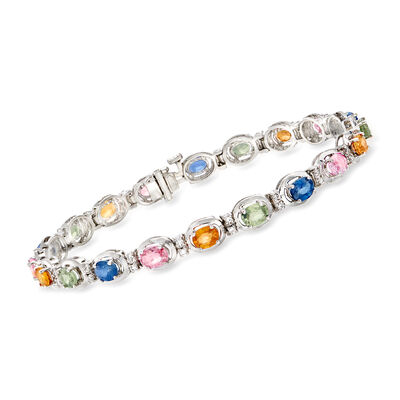 8.75 ct. t.w. Multicolored Sapphire and .40 ct. t.w. Diamond Bracelet in 14kt White Gold, , default
