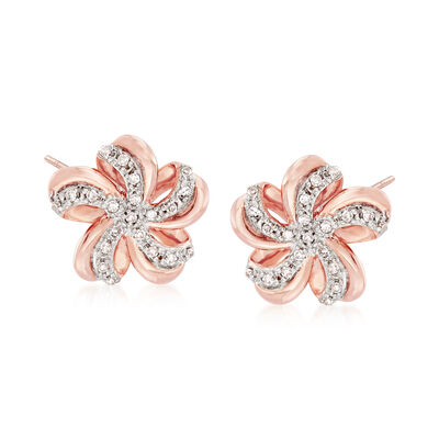 .10 ct. t.w. Diamond Flower Earrings in 14kt Rose Gold, , default