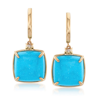 Stabilized Turquoise Drop Earrings in 14kt Yellow Gold, , default