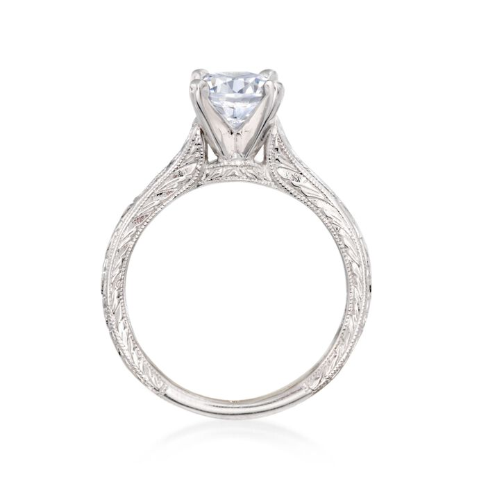 Gabriel Designs .15 ct. t.w. Diamond Engagement Ring Setting in 14kt White Gold