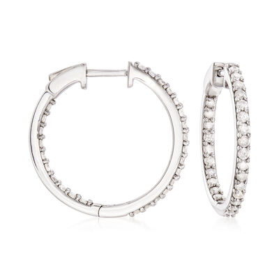 1.00 ct. t.w. Diamond Inside-Outside Hoop Earrings in Sterling Silver, , default