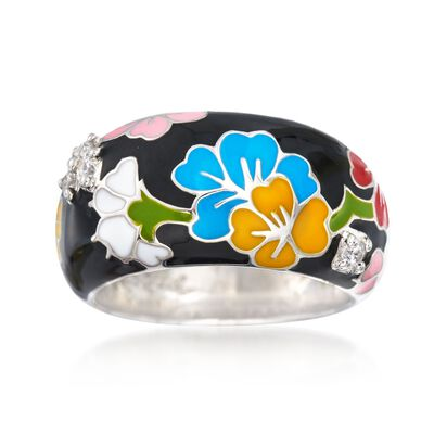 "Belle Etoile ""Constellations: Sakura"" Multicolored Enamel and .15 ct. t.w. CZ Ring in Sterling Silver, , default"