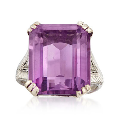 C. 1950 Vintage 11.90 Carat Amethyst Ring in Platinum and 14kt Yellow Gold, , default