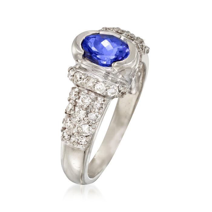 C. 1980 Vintage .95 Carat Tanzanite and .70 ct. t.w. Diamond Ring in 14kt White Gold