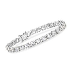 23.00 ct. t.w. CZ Tennis Bracelet in Sterling Silver, , default