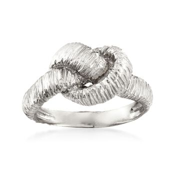 Italian Sterling Silver Textured Knot Ring, , default