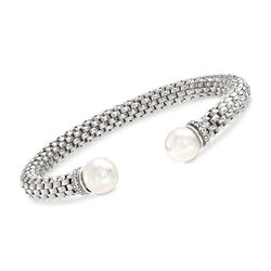10mm Cultured Pearl and .25 ct. t.w. CZ Italian Cuff Bracelet in Sterling Silver, , default