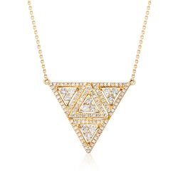 .52 ct. t.w. Diamond Triangle Necklace in 14kt Yellow Gold, , default