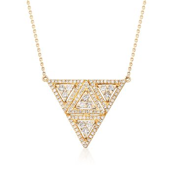 ".52 ct. t.w. Diamond Triangle Necklace in 14kt Yellow Gold. 18"", , default"
