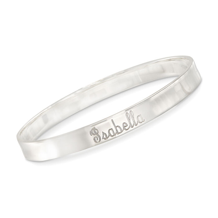 Sterling Silver Name Bangle Bracelet, , default