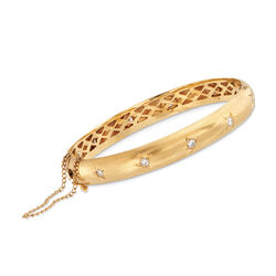 "C. 1970 Vintage 1.00 ct. t.w. Diamond Star Bangle Bracelet in 18kt Yellow Gold. 7.5"", , default"