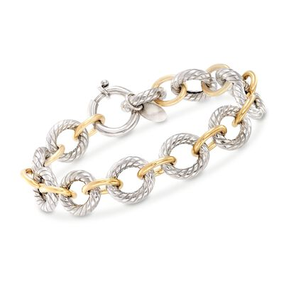 "Phillip Gavriel ""Italian Cable"" Sterling Silver and 18kt Gold Link Bracelet, , default"