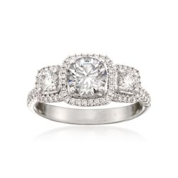Simon G. .62 ct. t.w. Diamond Engagement Ring Setting in 18kt White Gold. Size 7, , default