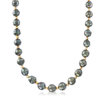 9-10mm Cultured Tahitian Baroque Pearl Necklace with 14kt Yellow Gold