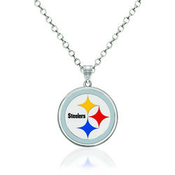 "Sterling Silver NFL Pittsburgh Steelers Enamel Pendant Necklace. 18"", , default"