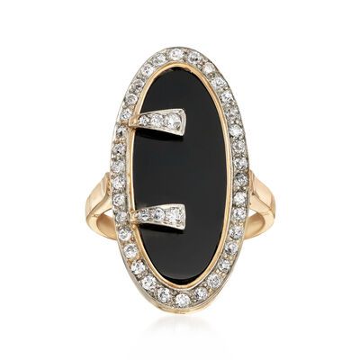 C. 1960 Vintage Onyx and .90 ct. t.w. Diamond Ring in 14kt Yellow Gold, , default