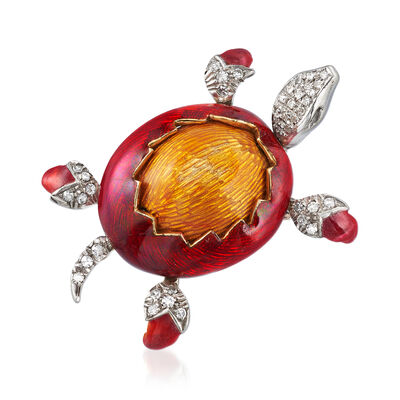 C. 1980 Vintage .45 ct. t.w. Diamond Turtle Pin with Red and Orange Enamel in 18kt Two-Tone Gold, , default