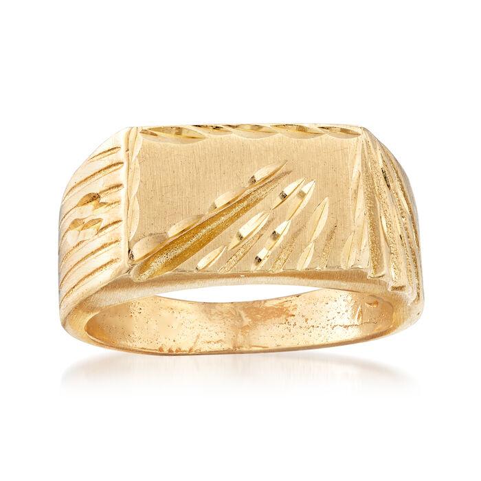 C. 1990 Vintage 14kt Yellow Gold Signet Ring. Size 6.5, , default