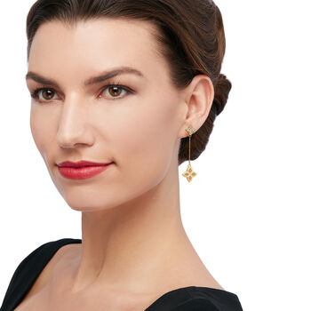 """Roberto Coin """"Princess"""" Diamond-Accented Flower Drop Earrings in 18kt Yellow Gold"""