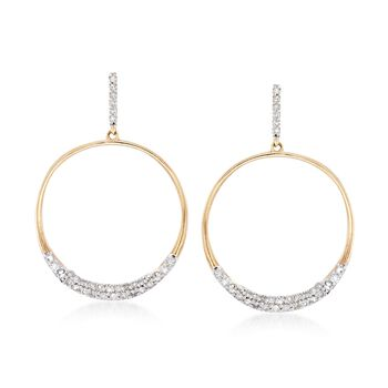 .34 ct. t.w. Diamond Open Circle Drop Earrings in 14kt Gold Over Sterling, , default