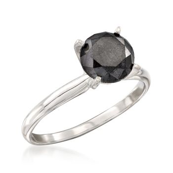 2.00 Carat Black Diamond Solitaire Ring in 14kt White Gold, , default