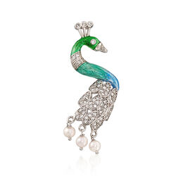 Italian 1.30 ct. t.w. CZ and 5.5-6mm Cultured Pearl With Enamel Peacock Pendant in Sterling Silver, , default