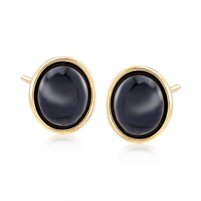 Black Agate Earrings in 14kt Yellow Gold, , default