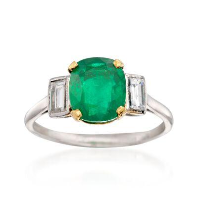 C. 1990 Vintage 2.65 Carat Emerald and .45 ct. t.w. Diamond Ring in Platinum, , default