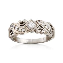 C. 1980 Vintage .45 ct. t.w. Diamond Wedding Ring in Platinum. Size 6, , default