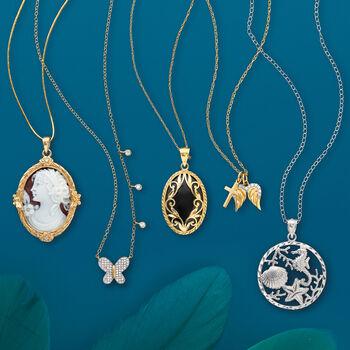.14 ct. t.w. Diamond Butterfly Bezel Necklace in 14kt Yellow Gold, , default