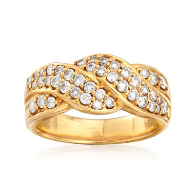 C. 1990 Vintage .75 ct. t.w. Diamond Crossover Wave Ring in 18kt Yellow Gold, , default