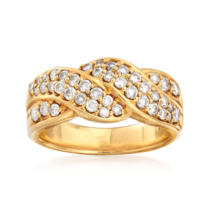 C. 1990 Vintage .75 ct. t.w. Diamond Crossover Wave Ring in 18kt Yellow Gold. Size 6.5