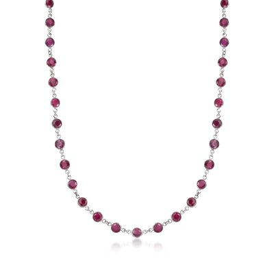 30.00 ct. t.w. Ruby Station Necklace in Sterling Silver, , default