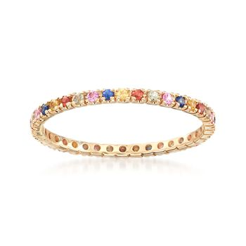 .45 ct. t.w. Multicolored Sapphire Eternity Band in 14kt Yellow Gold, , default