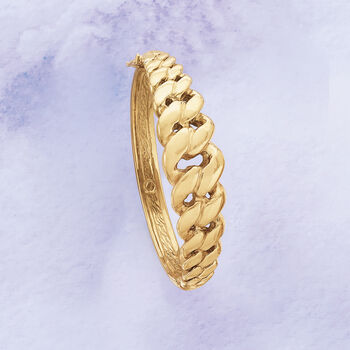 "Italian 14kt Yellow Gold Cuban-Link Bangle Bracelet. 8"", , default"