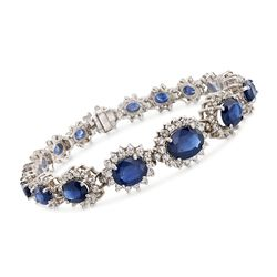 C. 1990 Vintage 15.50 ct. t.w. Sapphire and 4.00 ct. t.w. Diamond Bracelet in 14kt White Gold, , default