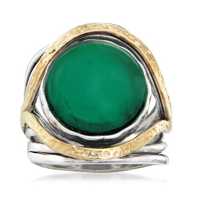 Green Chalcedony Cabochon Ring in Sterling Silver with 14kt Yellow Gold