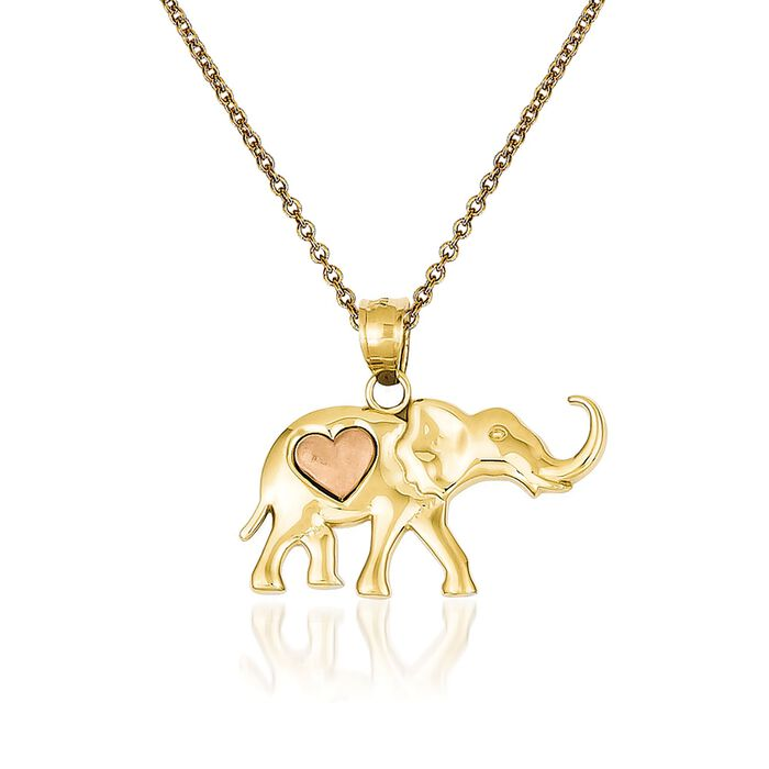 14kt Two-Tone Gold Elephant Pendant Necklace. 18""