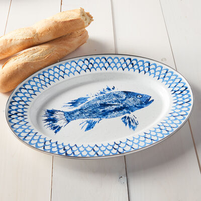Golden Rabbit Fish Camp Dinnerware - Oval Platter, , default