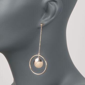 14kt Yellow Gold Circle Drop Earrings, , default