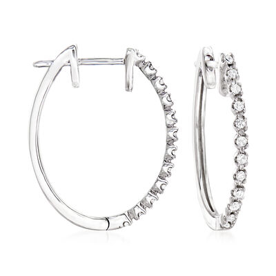 .25 ct. t.w. Diamond Hoop Earrings in 14kt White Gold